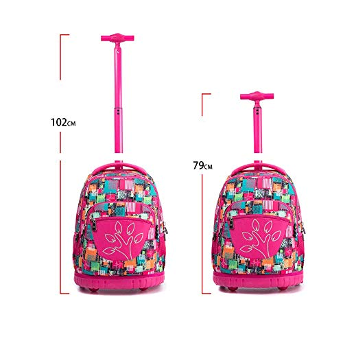 cfe58aad0c86 HONGNA Trolley Backpack Polyester Printing Pupils Pull Rods Men And Women  Bags Youth Backpack (color : H)