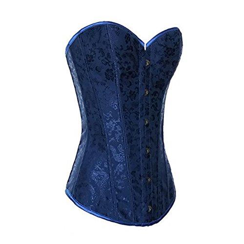 Muka Women Blue Brocade Renaissance Fashion Corset Lingerie Halloween Costume S