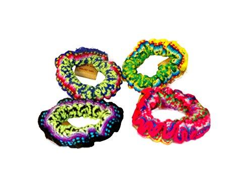 #255 Peru Hand Made Cotton Woven Hair Scrunchies Pack of 6 Assortment Wholesale ()