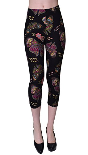 VIV Collection Regular Size Printed Brushed Capris (Butterfly Knight)