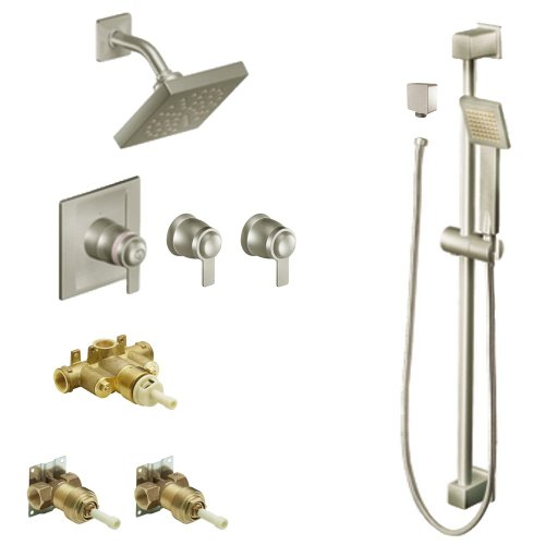 - Moen KSP90-H-TS7115BN 90-Degree 6-Inch Rainshower Vertical Spa Kit with Handheld Shower and Slide Bar, Brushed Nickel
