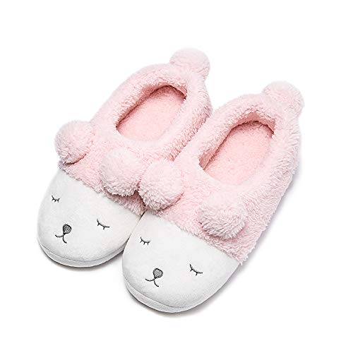 GaraTia Warm Indoor Slippers for Women Fleece Plush Bedroom Winter Boots Pink Low Top 7-8.5