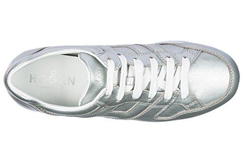 Hogan Damenschuhe Turnschuhe Damen Leder Schuhe Sneakers h352 Silber