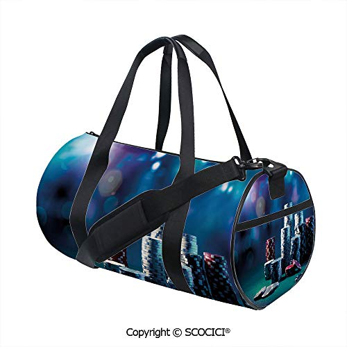 Crossbody Bags for Women Men,Gaming Table with Poker Chips Dramatic Display Vegas Leisure DecorativeInner Dark Grid,(17.6 x 9 x 9 in) Multicolor -