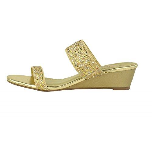 cuneo diamante on Oro sandali slip della parti Donna Kick Footwear dressy piattaforma qw7tnSZRRW
