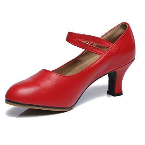 Leise Moderner Mittleren Womens Rot Tanzschuhe Heels Schuhe Tanzschuhe Dancing Unten Latin WYMNAME qOaTxtW