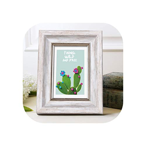 Aesthetic Photo Frame for Home Decor Quality Plastic Table/Wall Hanging Picture Frames Vintage 4 Colors Party Casamento Desktop,White,8 Inch
