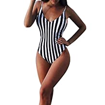 Paymenow Women Sexy Striped One Piece Swimsuit Straps Monokini Classic Bathing Suit