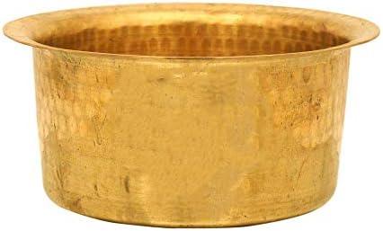 PLANET 007 Brass Patila Tope Topia Bhaguna Round Patila Cooking Pot Capacity 2 Litre Brass Tope