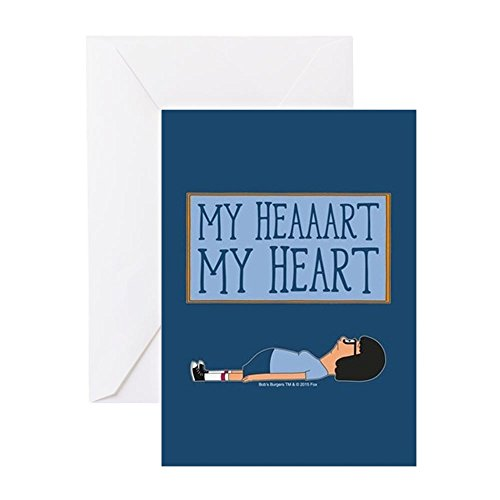 CafePress Bob's Burgers Tina Heart Greeting Card, Note Card, Birthday Card, Blank Inside Matte