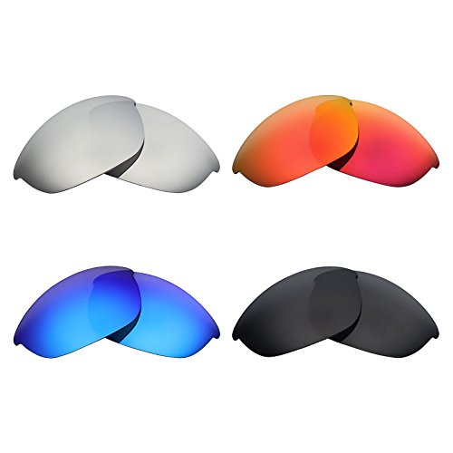 Mryok 4 Pair Polarized Replacement Lenses for Oakley Half Jacket Sunglass - Stealth Black/Fire Red/Ice Blue/Silver - Jacket Oakley Lenses Half Replacement