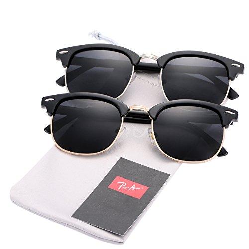 Pro Acme (Pack of 2) Semi Rimless Polarized Clubmaster Sunglasses for Men Women (Bright Black Frame/Black Lens + Matte Black Frame/Black - Clubmaster Black