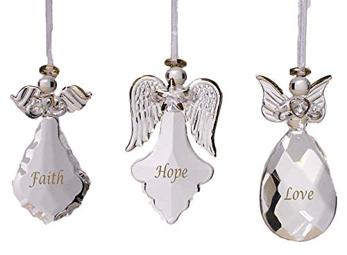 Three Angels Ornament - BANBERRY DESIGNS Faith Hope Love Glass Angel Ornaments - Set of 3 - FAITH HOPE LOVE Written on Each Ornament in Gold