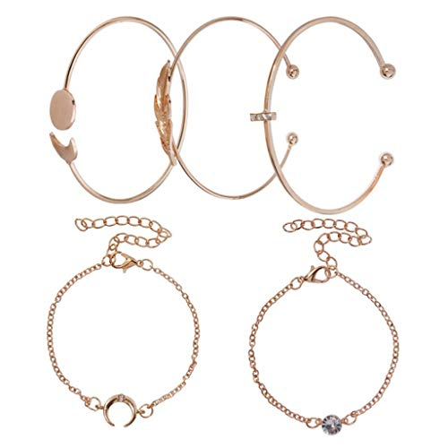Clearance! Hot Sale! ❤ Fashion Bracelet Five-Piece Diamond-Studded Geometric Leaves Moon Jewelry Female Under 5 Dollars Valentine's Day Gifts for Girlfriend/Boysfriend 2019 New