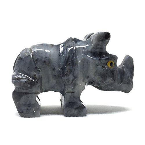Rhino Soapstone Animal Carving Charm Totem Figurine   1.5