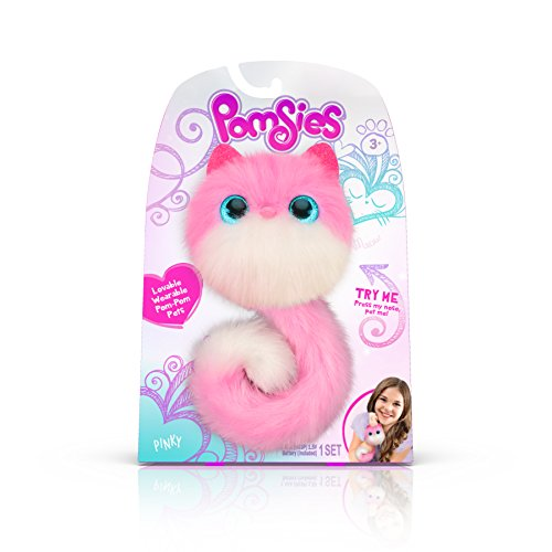Pomsies Pinky Plush Interactive Toys, Pink/White