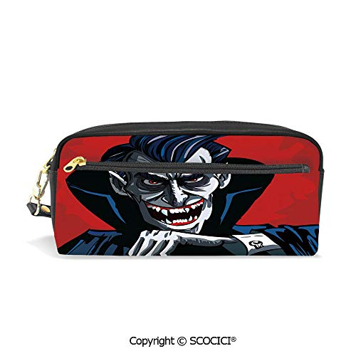 PU Leather Student Pencil Bag Multi Function Pen Pouch Cartoon Cruel Old Man with Cape Sharp Teeth Evil Creepy Smile Halloween Theme Office Organizer Case Cosmetic Makeup Bag