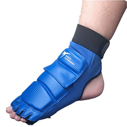 Wonzone Taekwondo Boxing Foot Protector Gear Martial Arts Training Sparring Gear Muay Thai Kung Fu Tae Kwon Do Feet Protector TKD Foot Gear Support for Men Women Kids (Blue, XX-Large)
