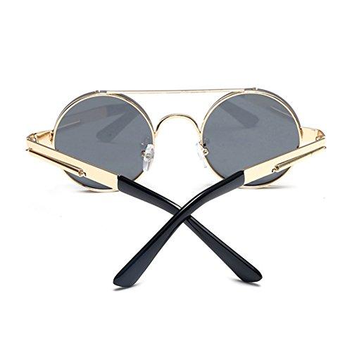 marco gafas Retro Spring Frame Metal Oro de de Hellomiko Gris Metal redondo sol colorido Steampunk Marco de EvwY5pq