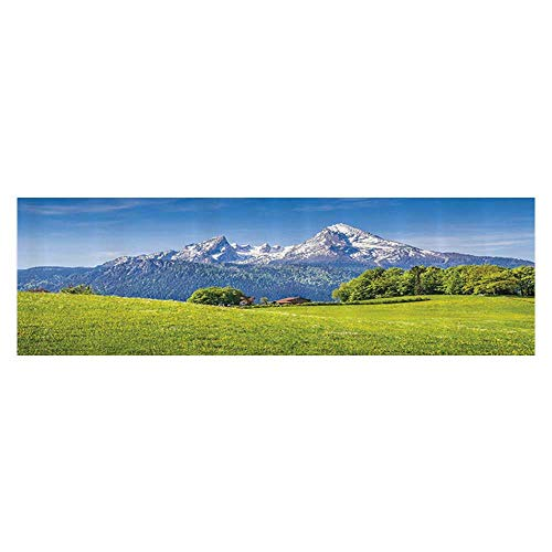 Aquarium Collage Pastoral Landscape in Alps with Meadow and Flowers Northern German Heaven Aquarium Sticker Wallpaper Decoration 23.6
