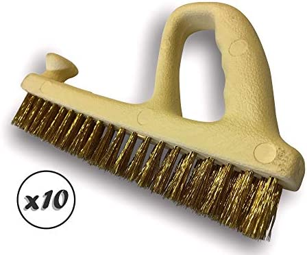 Kibros 3RABx10 | Pack of 10 | Metal Planer Brush | Soft Brass-Plated Steel Wire Filling | Ergonomic Grip | Special Cleaning Brush for Large Surfaces | Industrial Quality