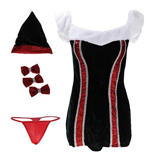 Prettyia Miss Santa Costume Ladies Christmas Mini Dress Short Bowknot Hat Fancy Dress Club Babydoll Lingerie
