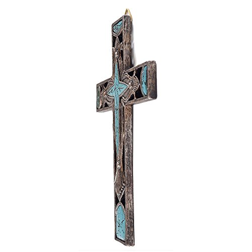 """8"""" Western Style Wall Cross Hollow Floral Carving Faux Turquoise Stone Mental Texture"""