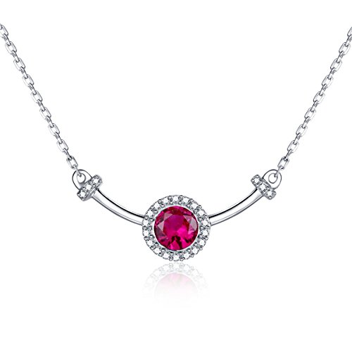 Women Sterling Silver Natural Ruby Bowknot CZ Halo Necklaces Pendants
