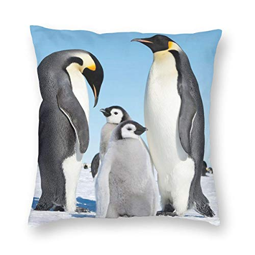 Bonsai Tree Lovely Penguin Family Autumn Throw Pillow Covers for Couch Bed Sofa, Personalized Pillow Cases Decorative Pillowcase Covers with (Club Penguin Halloween Floor 12)