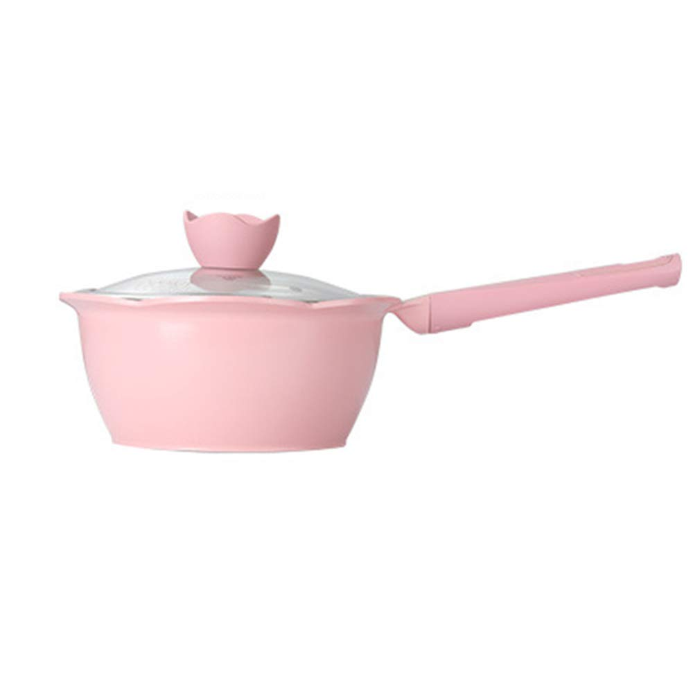 XMM Mini Milk Pan, Small Sauce Pan Forged Aluminium Milk Pan with Steamer Easy Clean,Suitable, for Induction Cooker Universal 20Cm,Pink