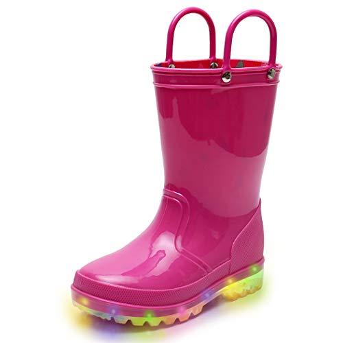 Hot Pink Girls Light Up Rain Boots, Waterproof Lightweight Glitter Boots for Toddlers & Little Kids Age 1-9, with Easy-on Handles (Fuchsia/Yellow/Deep Blue) (Toddler 6M, Fuchsia) -