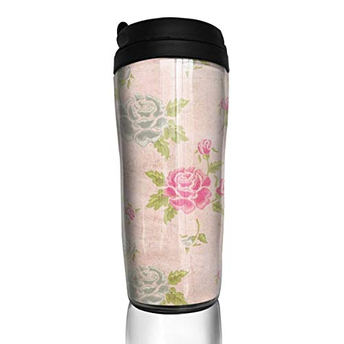 Pattonef Rose Texture Leaves Flower Wallpaper Personalized Reusable Coffee Cup Teacup 12 Oz Overflow Leakproof Flip for Work - Tea Personalized Roses