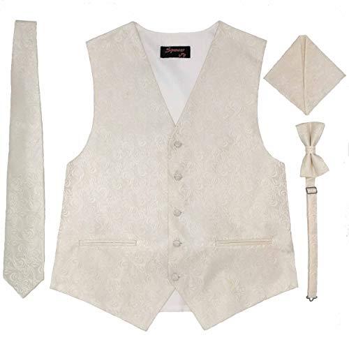 Spencer J's Men's Formal Tuxedo Suit Vest Imperial Tie Bowtie and Pocket Square 4 Peace Set Verity of Colors (Ivory, S (Coat Size 35-37))