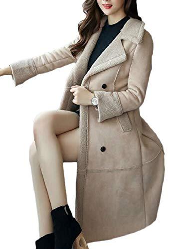 pujingge Women's Winter Shearling Coat Faux Long Sheepskin Lamb Turtle Outwear Jacket Beige L