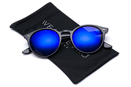 WearMe Pro Classic Small Round Retro Sunglasses, Black Frame / Flashing - Mirrored Sunglasses Round
