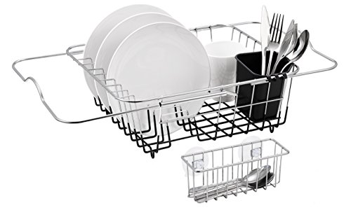 Finnhomy Over Sink Kitchen Dish Drainer Rack, Adjustable Bar