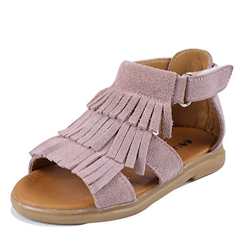 Muy Guay Baby Girls Sandals Genuine Leather Girls Sandals for Toddler Kids Girls Tassels Summer Shoes with Non Slip Rubber Sole]()