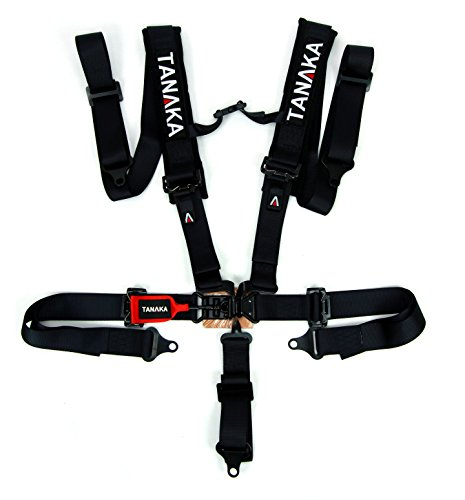 """Tanaka Black Series Latch and Link 5 Points Safety Harness Set with Ultra Comfort Heavy Duty Shoulder Pads (for one seat/Youth use) (Black) (2"""")"""