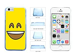 Bright Yellow Smiley Grin with Teeth Face Clear Plastic Phone Case Back Cover Apple iPhone 6 Plus (5.5 inches)