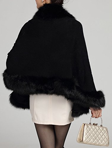 Luxury Women's Bridal Faux Fur Shawl Wraps Cape Cloak Coat-S55 Black