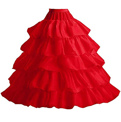 YUAKOU Women's 4-Hoop 5 Layer Wedding Petticoat Skirt Quinceanera Gown Red