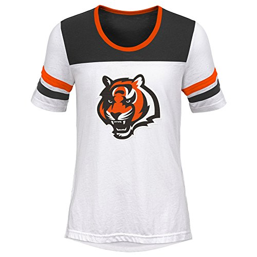 Outerstuff NFL NFL Cincinnati Bengals Youth Girls Tail Back Short Sleeve Tee White, Youth ()