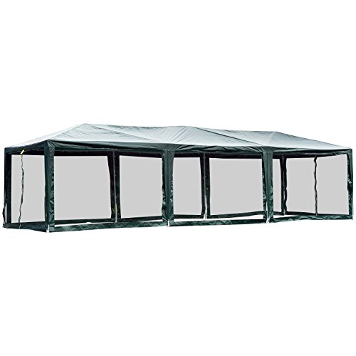 Outsunny 10' x 30' Gazebo Canopy Cover with Removable Mesh Side Walls - Green