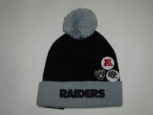New Era NFL Oakland Raiders Team Button Up Cuffed Knit Pom Beanie with 3 Pins NewEra