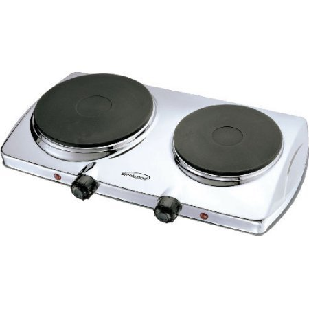 Brand New, Brentwood - Electric 1440W Double Hotplate Chrome