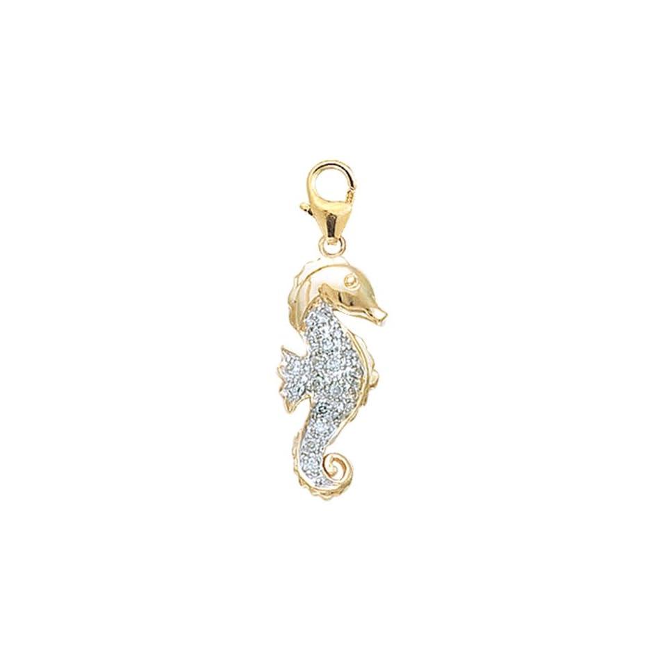14K Yellow Gold Diamond Seahorse Charm