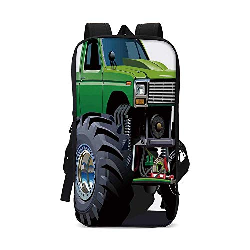 (Cars Stylish iPad Backpack,Giant Monster Pickup Truck with Large Tires and Suspension Extreme Biggest Wheel Print for School Office,9.8