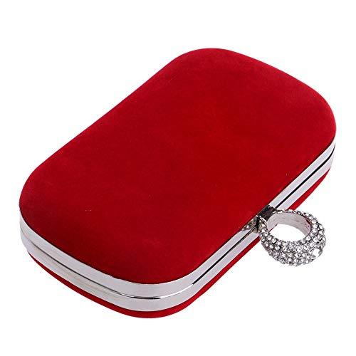 Negro Tamaño Noche De Embrague Bolsos Rojo Liergou Tarde Pequeño Free Size Mujeres Hombro Elegantes Cadena Desmontable Las Bolso La Sobre color fRTAnq