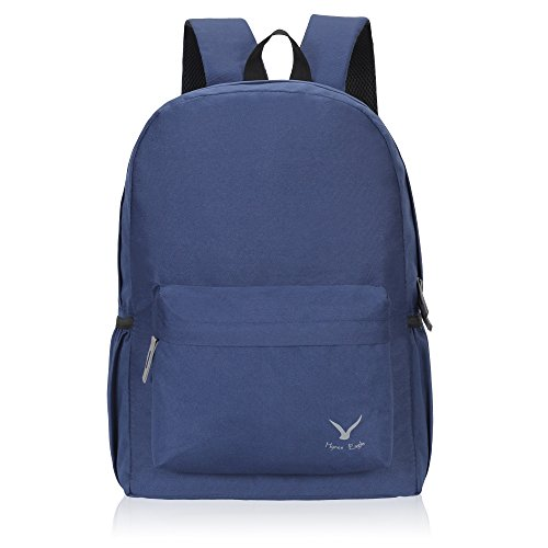 Hynes Eagle Basic School Backpack Book Bag Lightweight Small Backpack for Boys Girls, Navy