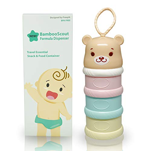 Formula Dispenser, Stackable, On-The-Go, BPA Free, Baby, Infant, Kids Milk Powder Dispenser & Snack Storage Container, Powder Leakage Free. Great for Outdoor.